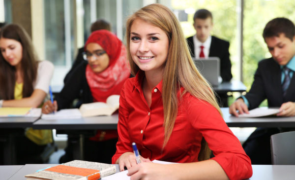 female student in class