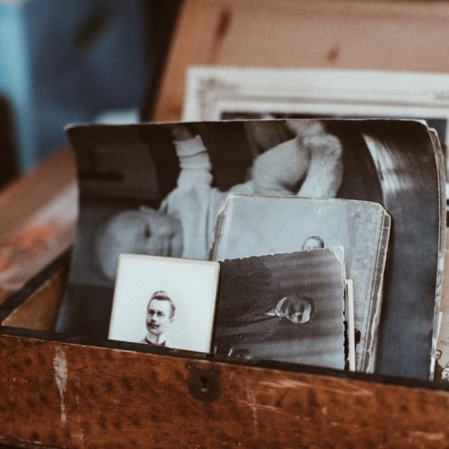 Old photos stuffed in a chest.