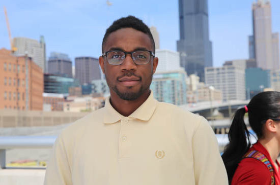 African-American male student with Chicago skyline