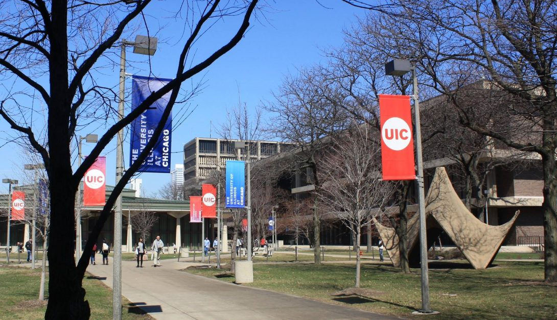 UIC banners on campus