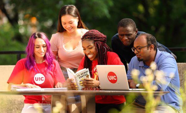Students at computer outdoors