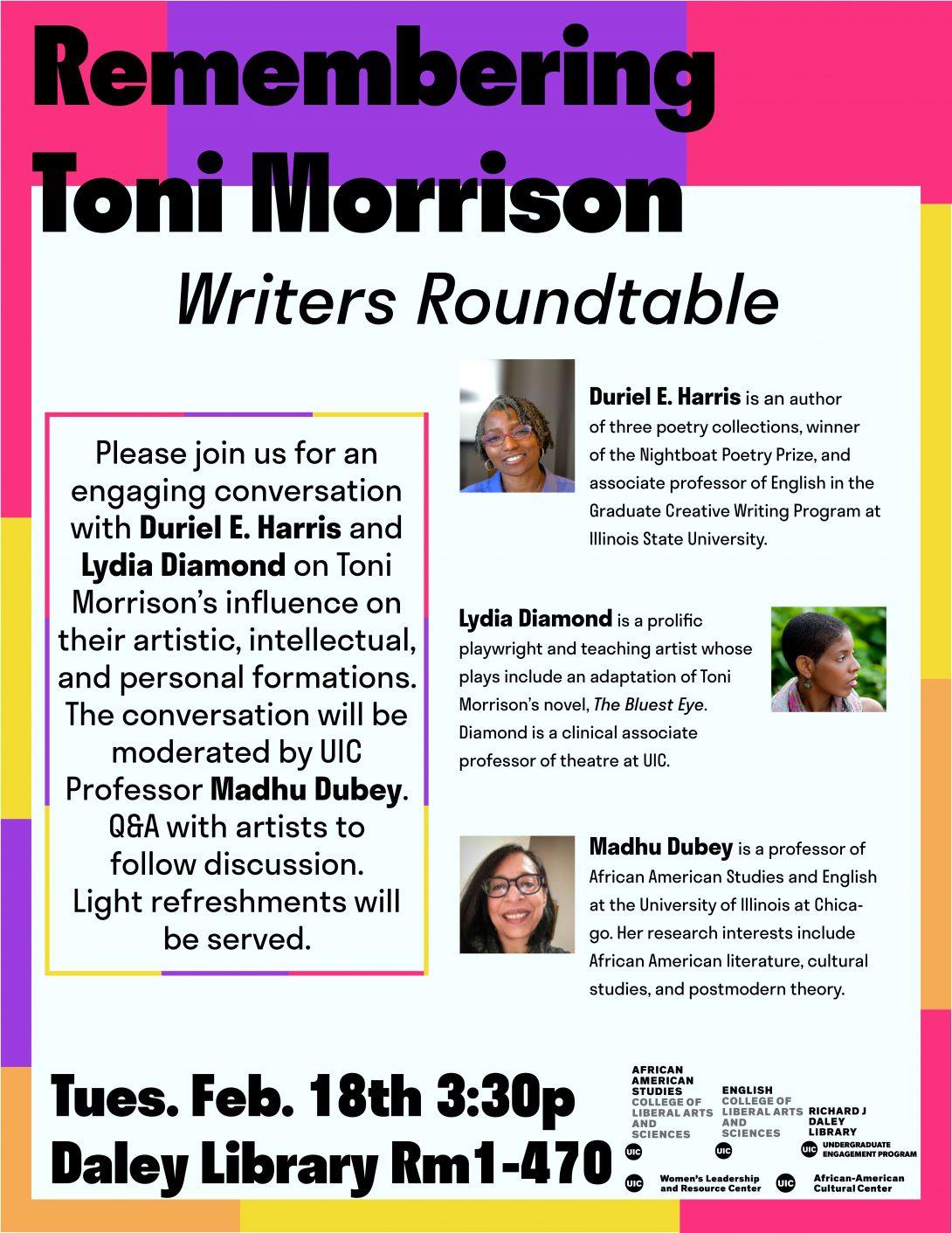 Remembering Toni Morrison flyer