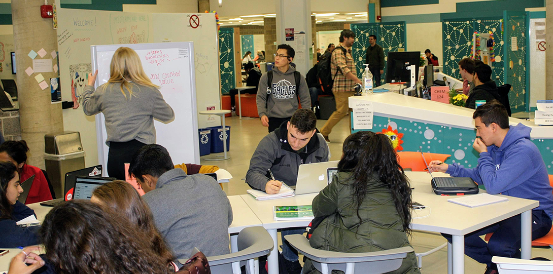 Students studying in the Math and Science Learning Center